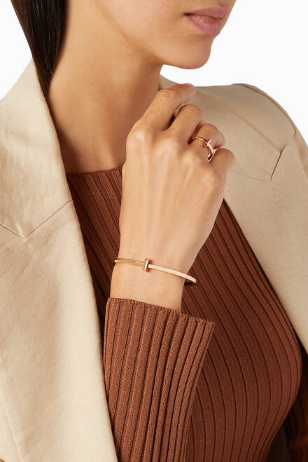 hover state of Tiffany T1 Narrow Hinged Bangle in 18kt Rose Gold