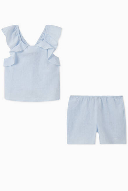 hover state of Ruffled Seersucker Top & Shorts Set