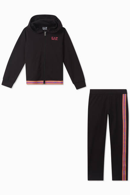 hover state of EA7 Logo Tape Jersey Tracksuit