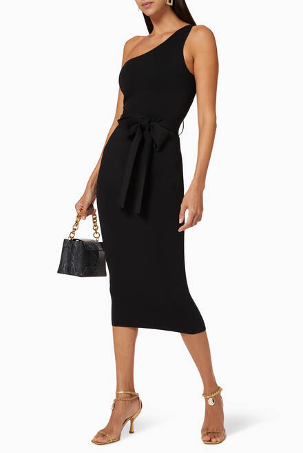 hover state of Lelani Asymmetrical Midi Dress