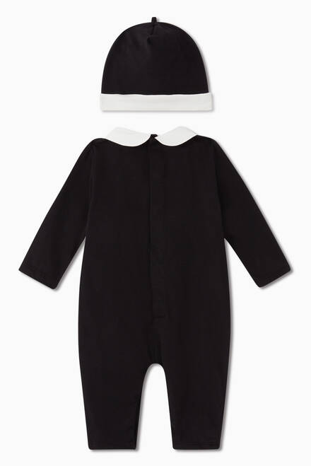 hover state of Holiday Tuxedo Jersey Jumpsuit & Hat Set