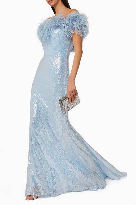 hover state of Sequin Gown with Feather Trim
