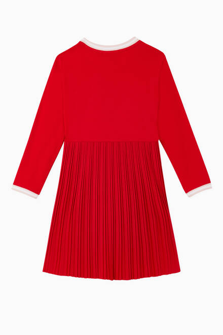 hover state of Crewneck Pleated Cotton Dress