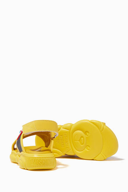 hover state of Logo Velcro Cross Sandals in Leather
