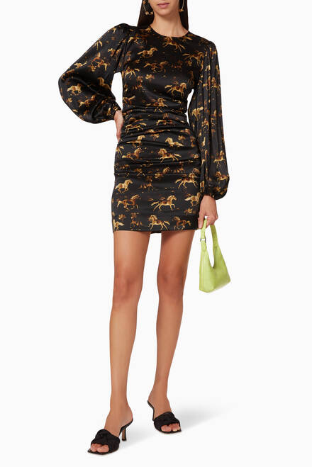 hover state of Satin Horse Print Dress