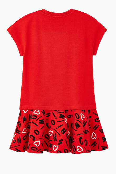 hover state of Teddy Heart Logo Print Jersey Dress