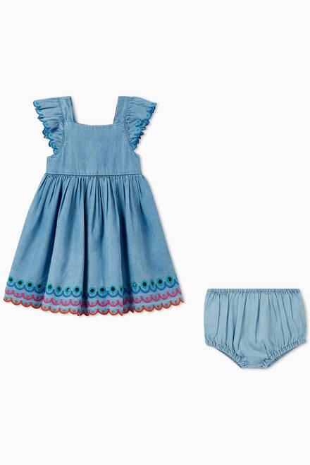 hover state of Dress with Bloomers in Organic Cotton Denim