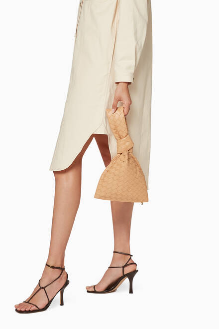 hover state of The Mini Twist Clutch in Intrecciato Nappa