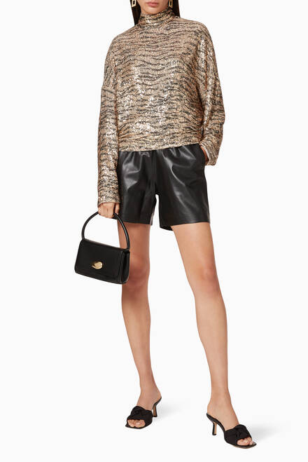 hover state of Tove Leather Shorts