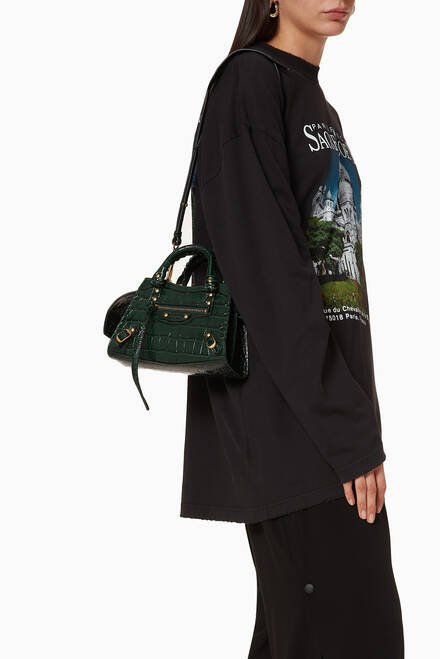 hover state of Neo Classic Mini Top Handle Bag in Shiny Crocodile Embossed Calfskin