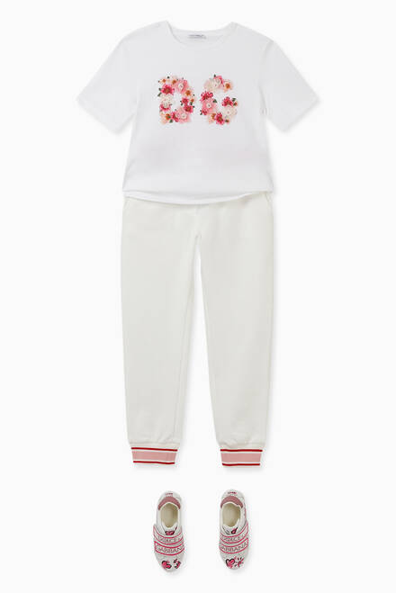 hover state of Jersey Jogging Pants with Floral Patch