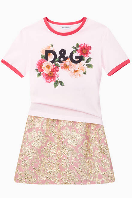 hover state of Cotton Jersey T-shirt with DG Camellia Print