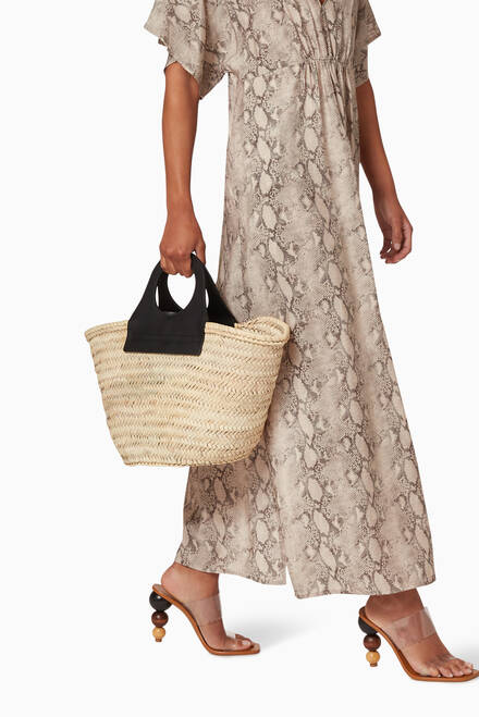 hover state of Cabas Tote Bag in Straw & Leather