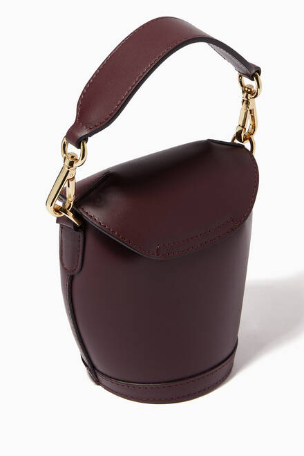 hover state of Mini Milk Pail Bag in Croc-Embossed Leather