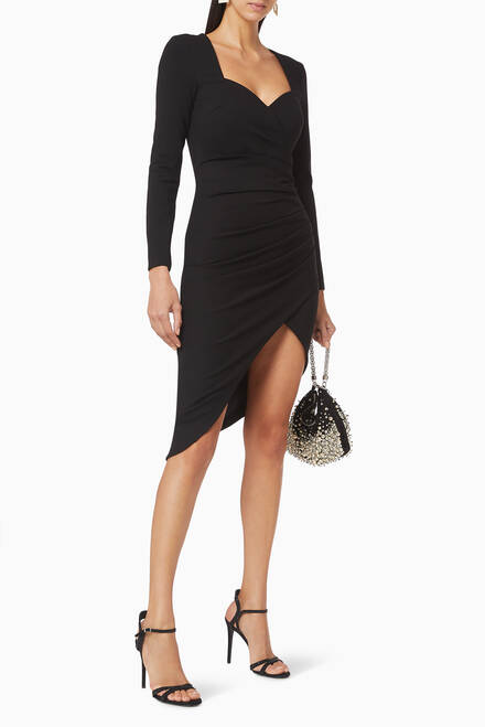 hover state of Asymmetric Ruched Midi Dress