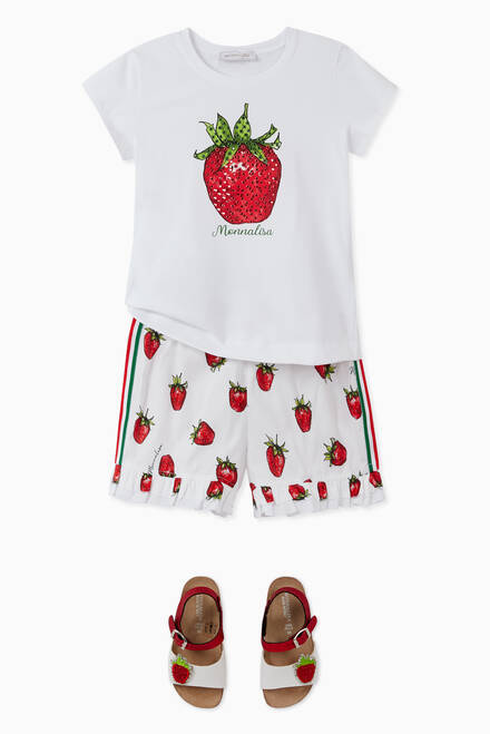 hover state of Strawberries Ruffle Shorts in Cotton