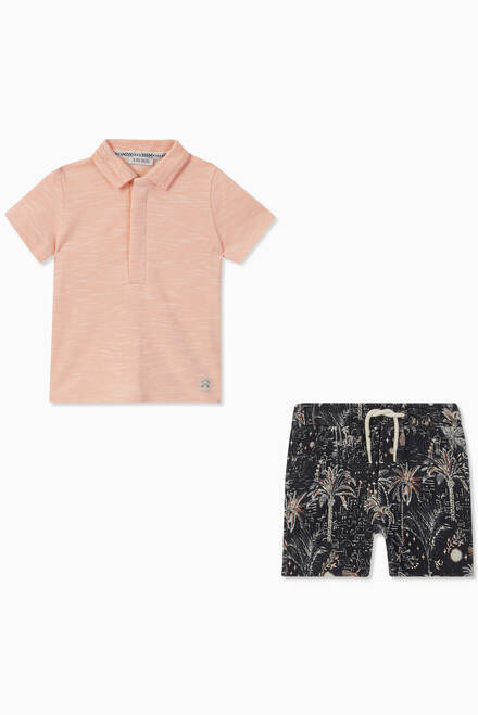 hover state of Polo Shirt and Printed Shorts Set, Set of 2