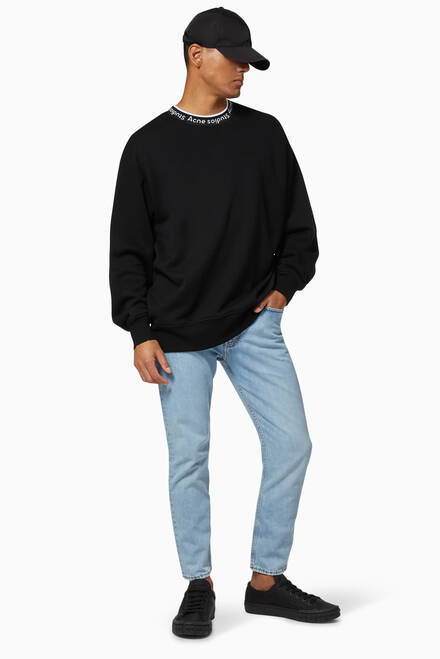 hover state of Logo Ribbed Crewneck Oversized Jersey Sweatshirt