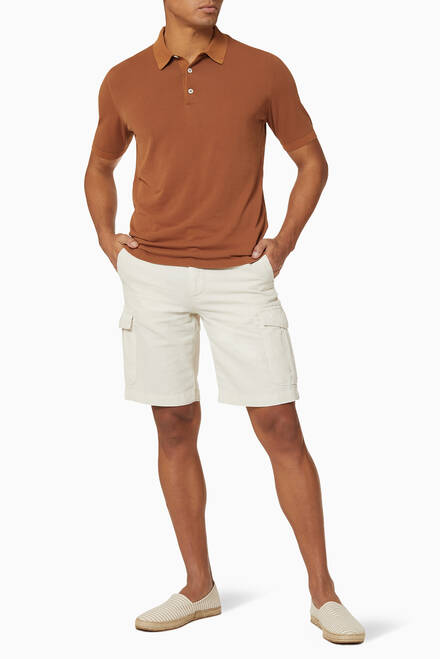hover state of Cotton Linen Bermuda Cargo Shorts