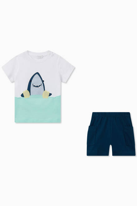 hover state of Floatie Shark T-shirt & Shorts Set in Cotton