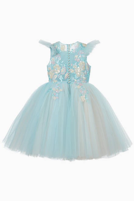 hover state of Blue Calla Lily Tulle Dress
