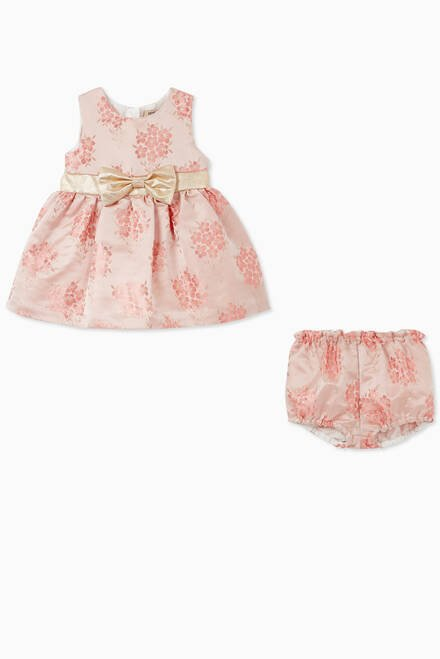 hover state of Bow Phlox Jacquard Dress with Bloomers