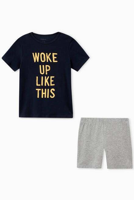 hover state of Woke Up Like This T-shirt & Shorts in Cotton Jersey