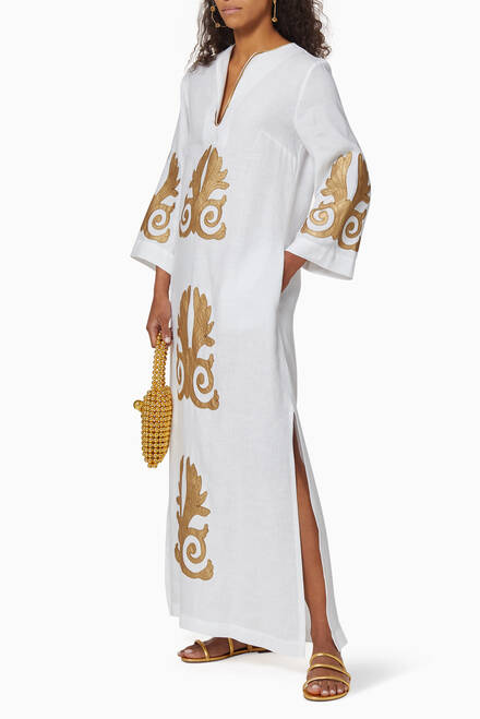 hover state of Akrokeramo Embroidered Long Kaftan