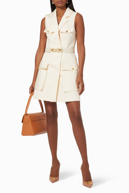 hover state of Cotton Twill Utility Dress with Belt