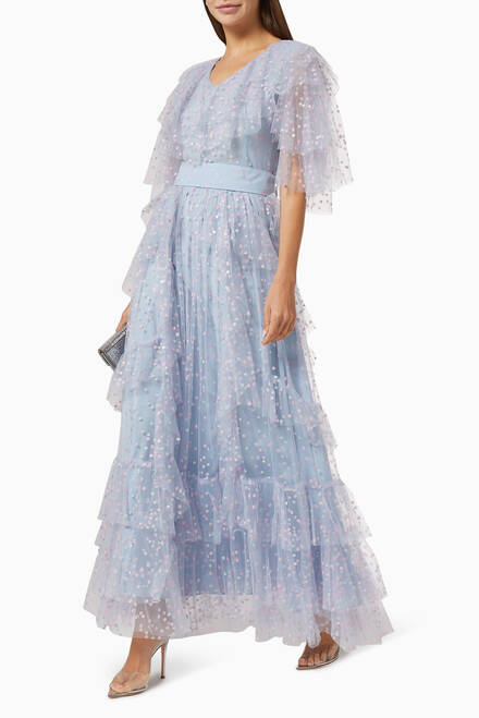 hover state of Shimmer Tiered Gown with Ruffles