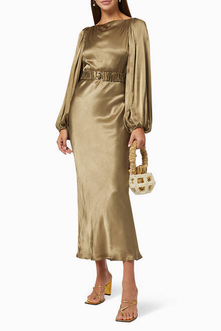 hover state of Giselle Balloon Sleeve Dress in Satin