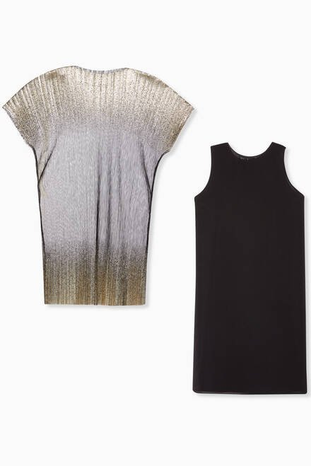 hover state of Metallic Pleated Kaftan & Dress Set