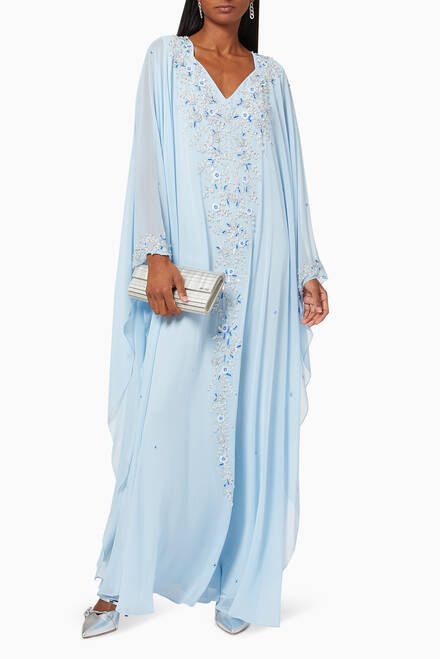 hover state of Floral Embroidered Kaftan in Chiffon