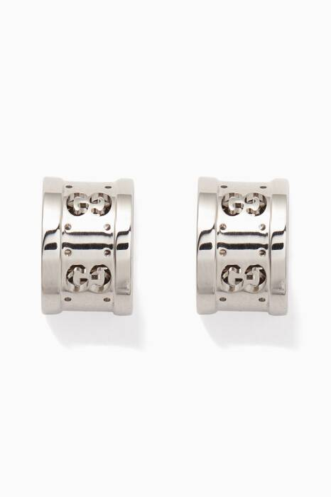 White-Gold Icon Twirl Earrings