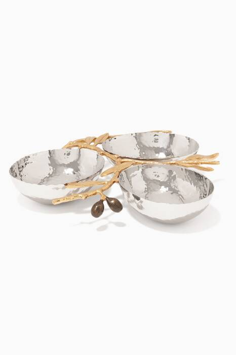 Olive Branch Triple Compartment Serving Dish