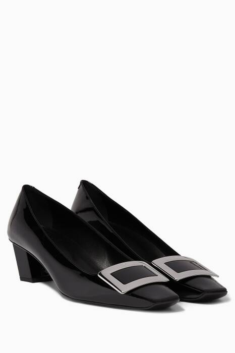 Black Belle Vivier Patent Pumps