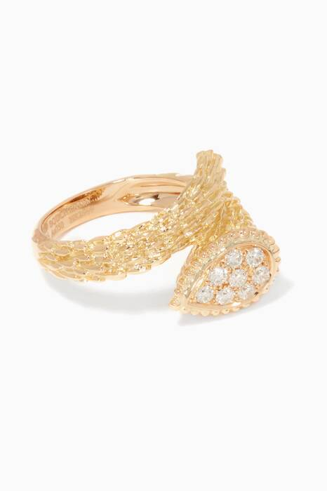 Yellow-Gold & Diamonds S Motif Serpent Bohème Ring