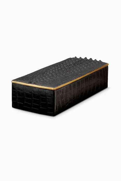 Black Crocodile Rectangle Desk Box
