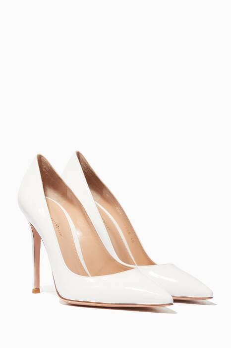 White Patent-Leather Point-Toe Pumps