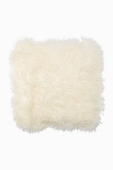 White Tibetan Lamb Fur Cushion Cover