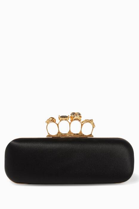 Black Satin Embellished Knuckle Box Clutch