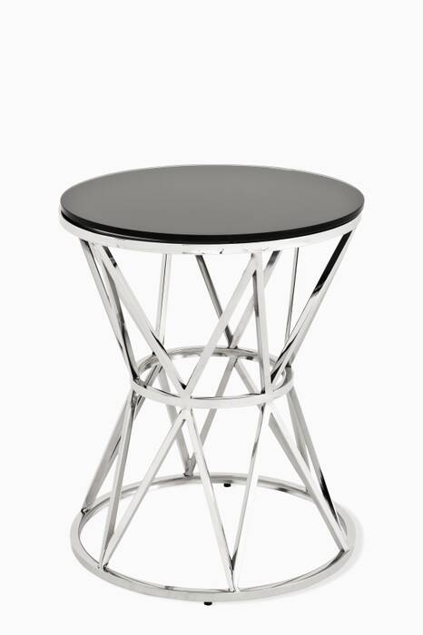 Black Glass Domingo Side Table