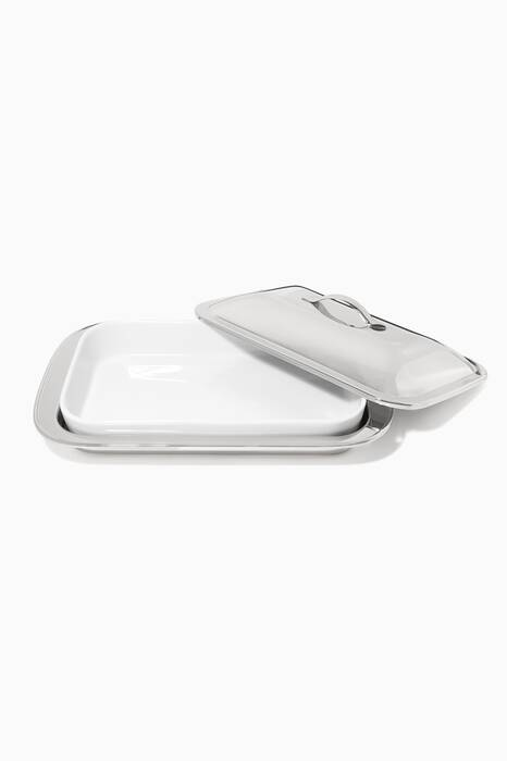Silver Italia Rectangle Dish Container With Cover