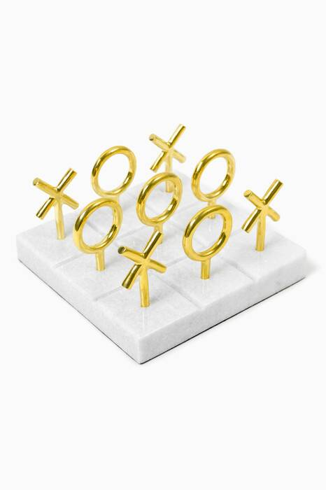 Brass and Marble Tic-Tac-Toe Set