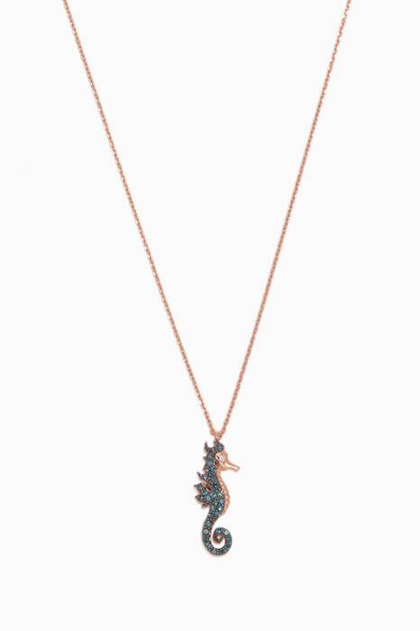Rose-Gold & Blue-Diamond Seahorse Necklace