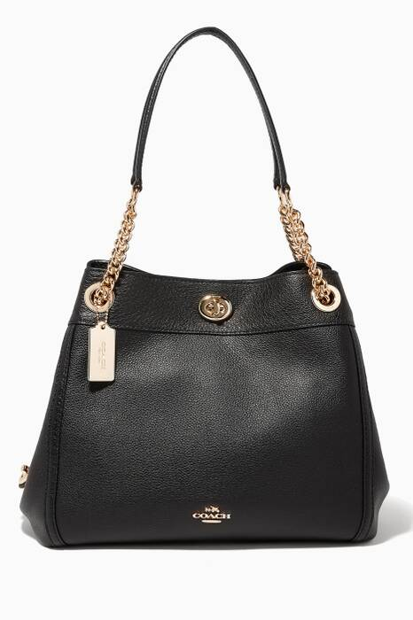 Black Turnlock Edie Shoulder Bag