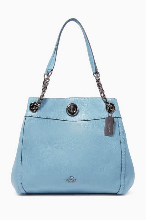 Chambray-Blue Turnlock Edie Shoulder Bag