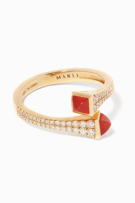 Yellow-Gold Cleo Red-Agetate Ring