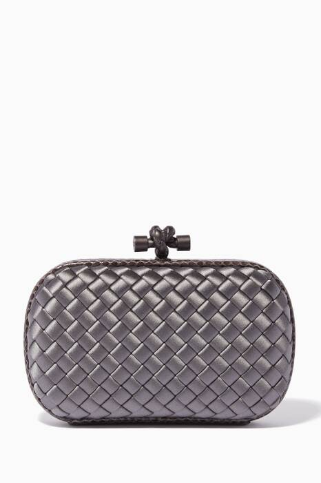 Light-Grey Satin Ayers Knot Clutch