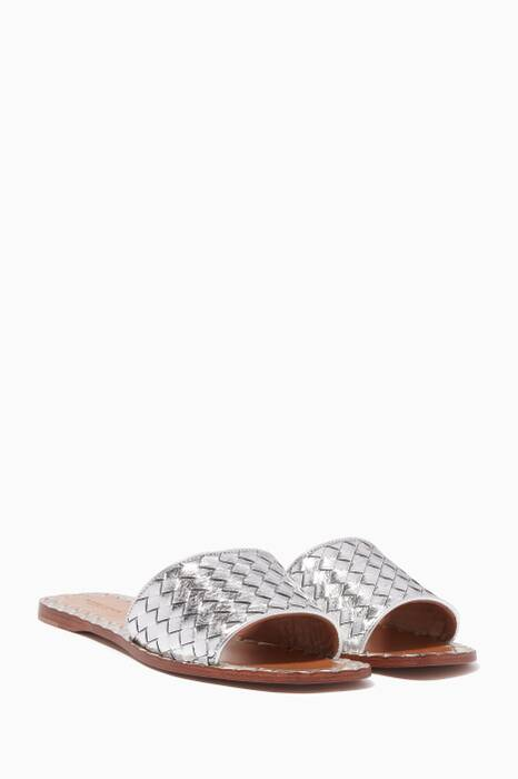 Pastel-Grey Furrow Metal Slip On Sandals